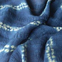 Handwoven crepe linen. Shibori stitch resist used with Indigo and weld Graduate Collection 2018